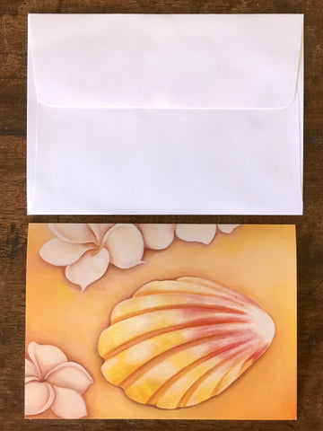 PLUMERIA & SUNRISE SHELL Greeting Card