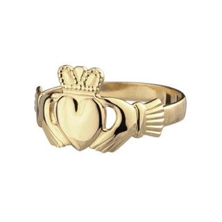 10 KT Gold Maids Ladies Claddagh Ring Emerald Isle Jewelry.