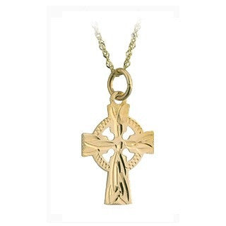 10 Karat Gold Celtic Cross Pendant with Chain Emerald Isle Jewelry.