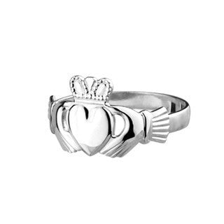 14 CT White Gold Ladies Maid Claddagh Ring Emerald Isle Jewelry.