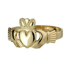 14 CT Gold Extra Heavy Mens Claddagh Ring Emerald Isle Jewelry.