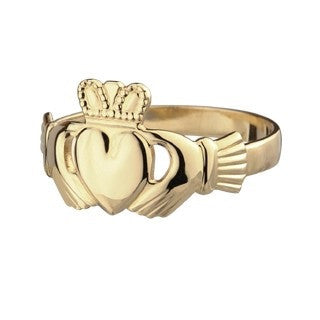14 CT Gold Ladies Claddagh Ring Emerald Isle Jewelry.