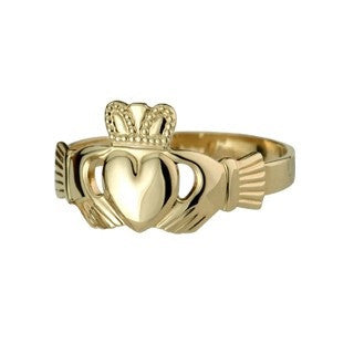 14 CT Gold Puffed Heart Extra Heavy Ladies Claddagh Ring Emerald Isle Jewelry.