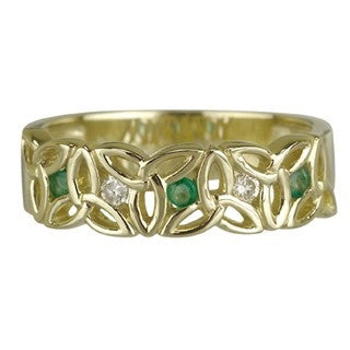 14 Karat Yellow Gold Diamond & Emerald Trinity Ring Emerald Isle Jewelry.