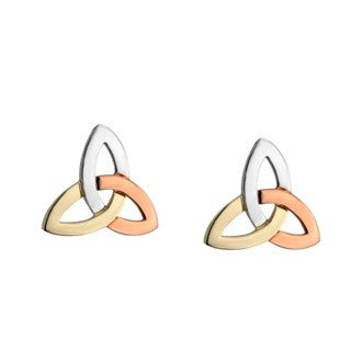 14 Carat Gold Trinity Stud Earrings - 3 Colour