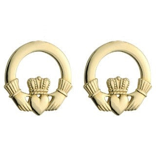 14 Karat Gold Claddagh Stud Earrings