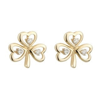 14 Karat Gold and Diamond Shamrock Earrings Emerald Isle Jewelry.