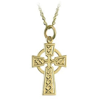 14 Karat Gold 15mm Celtic Cross with Chain Emerald Isle Jewelry.