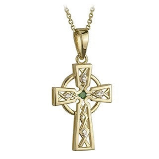 14 Karat Gold Emerald Celtic Cross with Chain