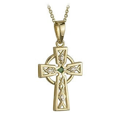 14 Karat Gold Emerald Celtic Cross with Chain Emerald Isle Jewelry.