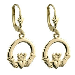 14 Karat Gold Claddagh Drop Earrings Large