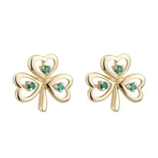 14 Karat Gold Shamrock Stud Earrings with Emeralds