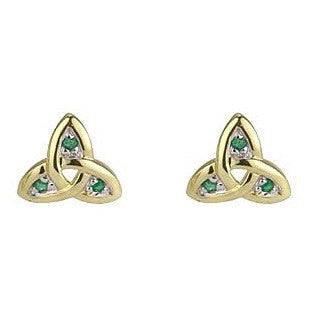 Gold & Emerald Trinity Knot Stud Earrings