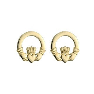 14 Karat Gold Small Claddagh Stud Earrings