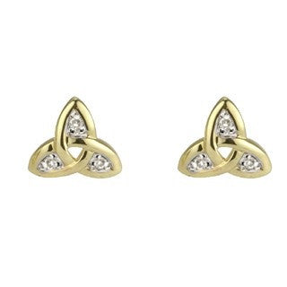 14 Karat Gold Diamond Trinity Knot Stud Earrings Emerald Isle Jewelry.
