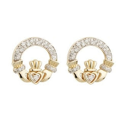 14 Karat Gold and Diamond Claddagh Stud Earrings Emerald Isle Jewelry.