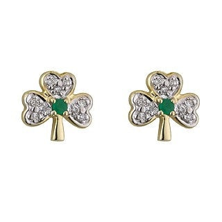 14 Karat Gold Shamrock Diamond and Emerald Small Stud Earrings