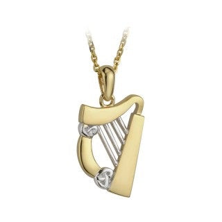 14 Karat Gold Harp Pendant with Chain Emerald Isle Jewelry.