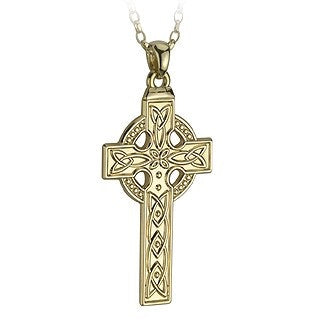 14 Karat Gold Celtic Cross Large Pendant with Chain Emerald Isle Jewelry.