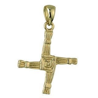 14 Karat Gold Double Sided St Brigid's Cross Pendant with Chain