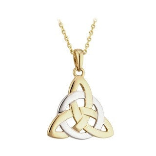 14 Karat Two Tone Trinity Pendant with Chain Emerald Isle Jewelry.