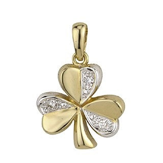 14 Karat Gold and Diamond Two Tone Shamrock Pendant with Chain Emerald Isle Jewelry.