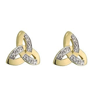 Two Tone 14 Karat Gold & Diamond Trinity Stud Earrings Emerald Isle Jewelry.