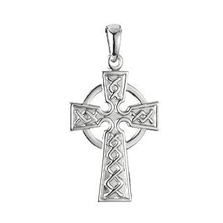14 Karat White Gold Celtic Cross with Chain Emerald Isle Jewelry.
