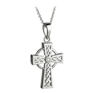 14 Karat White Gold and Diamond Celtic Cross with Chain Emerald Isle Jewelry.
