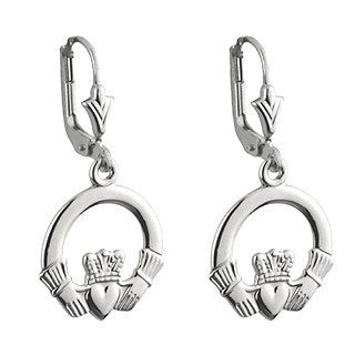 14 Karat White Gold Claddagh Drop Earrings - Small Emerald Isle Jewelry.