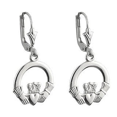 White Gold Claddagh Drop Earrings