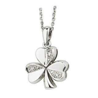 14 Karat White Gold Diamond Shamrock Pendant with Chain Emerald Isle Jewelry.