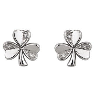 14 Karat White Gold Diamond Shamrock Stud Earrings