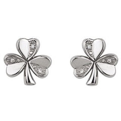 14 Karat White Gold Diamond Shamrock Stud Earrings Emerald Isle Jewelry.