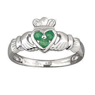 14 Karat White Gold Emerald Heart Ring