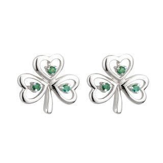 14 Karat White Gold Emerald Shamrock Earrings