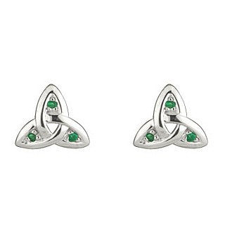 14 Karat White Gold Emerald Trinity Knot Stud Earrings