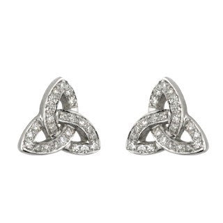 14 Karat White Gold Trinity Diamond Stud Small Earrings