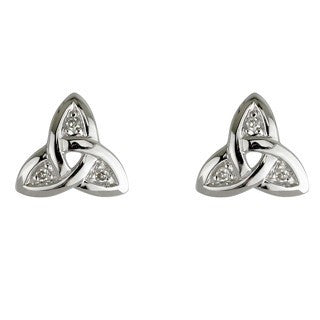 14 Karat White Gold Trinity Diamond Stud Earrings Emerald Isle Jewelry.
