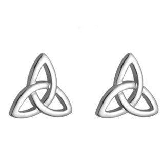 14 Karat White Gold Trinity Stud Earrings - Small Emerald Isle Jewelry.