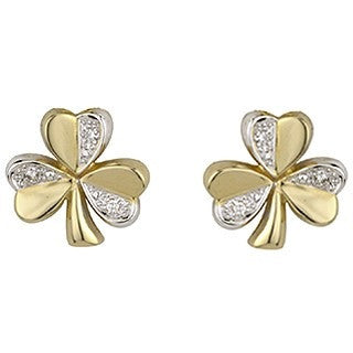 14 Karat Gold Two Tone Diamond Stud Shamrock Earrings Emerald Isle Jewelry.