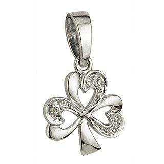 14 Karat White Gold and Diamond Shamrock Pendant with Chain