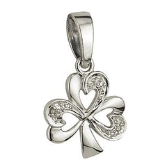 14 Karat White Gold and Diamond Shamrock Pendant with Chain Emerald Isle Jewelry.