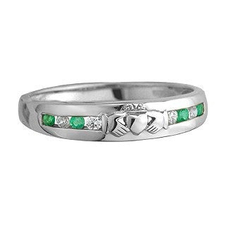 14 Karat White Gold 8 Stone Diamond/Emerald Eternity Claddagh Ring