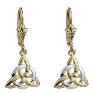 14 Karat Gold Two Tone Trinity Drop Earrings