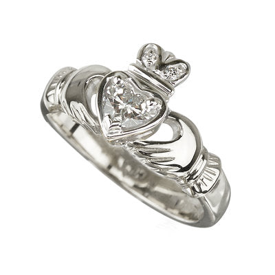 18K Diamond Claddagh Engagement Ring
