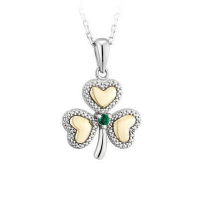 Silver and 10K Gold Diamond and Emerald Shamrock Pendant