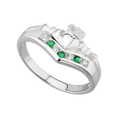 Sterling Silver Wishbone Emerald and CZ Claddagh Ring