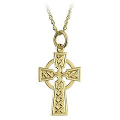 9 Karat Gold Celtic Cross with Chain Emerald Isle Jewelry.