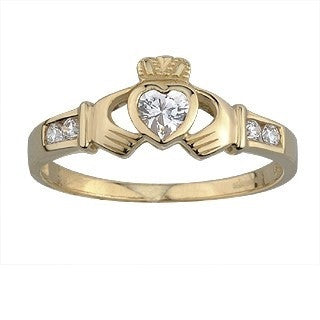 9 Carat Gold Claddagh Ring with Cubic Zirconia Stones Emerald Isle Jewelry.